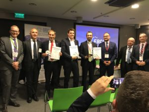 fltr: Dirk-Ulrich Krüger (ERCI-spokesperson), Carlo Borghini (CEO Shift2Rail) and the ERCI Innovation Award Winner 2017 MER MEC S.p.A., SIUT GmbH and Bombardier Transportation; and the hosts Adam und Marek Jablonski (Southern Railway Cluster)